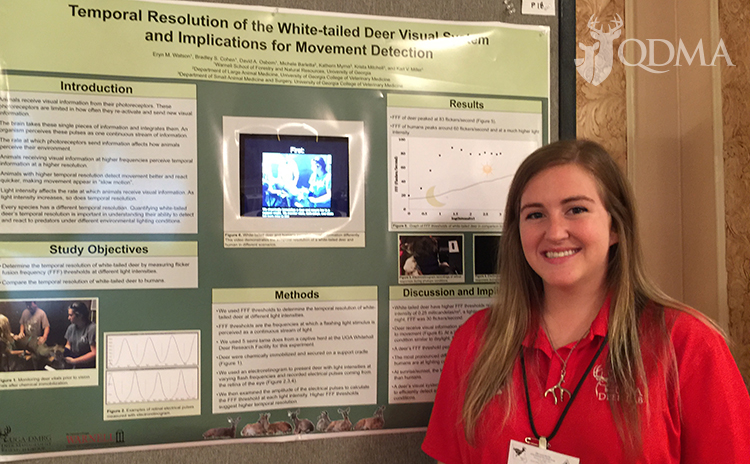 Eryn Watson of the University of Georgia presented a poster on her research into deer vision in dim light conditions.