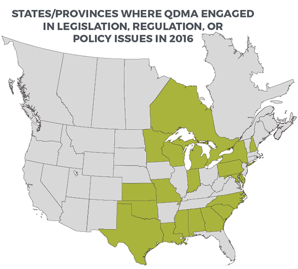 QDMA engaged in over 100 legislative or regulatory deer issues in 2016, including 31 at the national level.